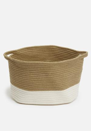Large braided basket - brown & neutral