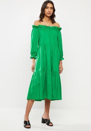 Poplin ots tiered midi dress - green
