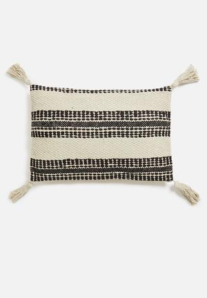 Stripe cushion - black & cream