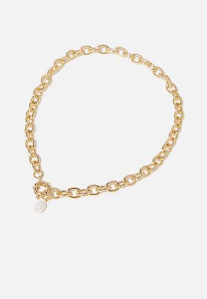 Bonnie pearl drop necklace - gold