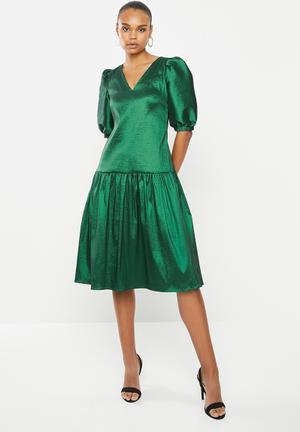 Taffeta statement dress - emerald