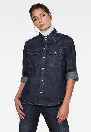 Western denim relaxed shirt long sleeve - blue