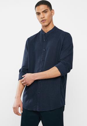 Langholm linen blend shirt - navy