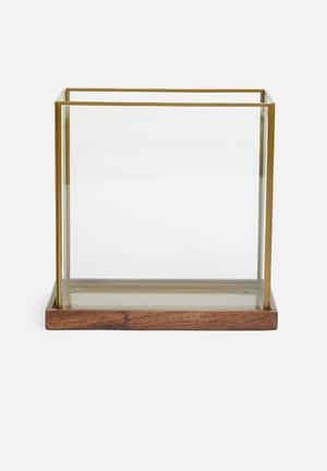 Rectangular glass lantern - brass antique gold