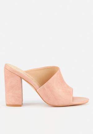 pink and black shoes heels