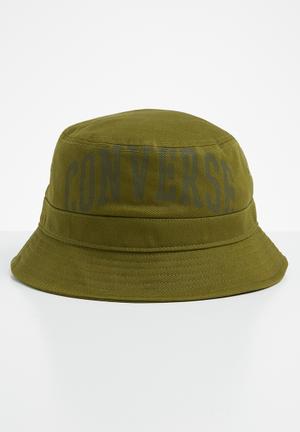 Plaid wordmark bucket hat - green