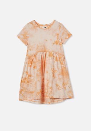 Freya short sleeve dress - apricot sun tie dye