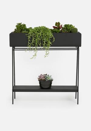 Ava barrel planter with shelf - black