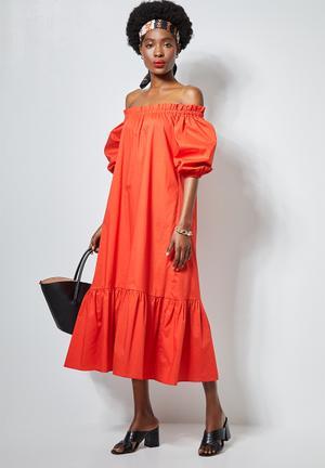 Off the shoulder maxi dress - orange