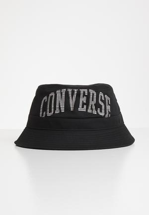 Plaid wordmark bucket hat - black