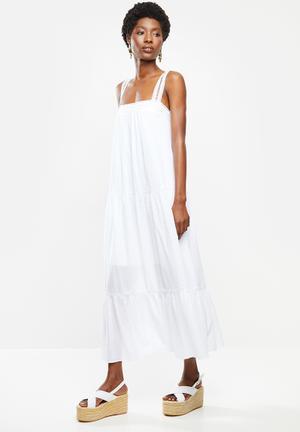 Dobby square neck midi tiered dress - white