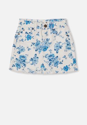 Finn denim skirt - white & rosie floral