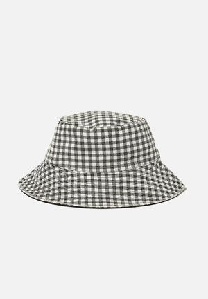 Elly reversible wide brim bucket hat - black gingham