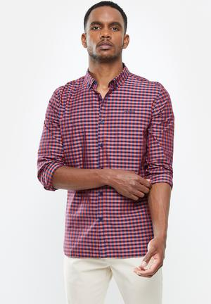 Textured check long sleeve shirt - red & navy