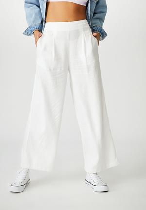 Wide leg paradise pant - white