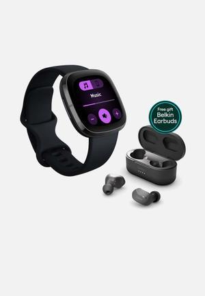 Fitbit sense black + belkin earbuds bundle