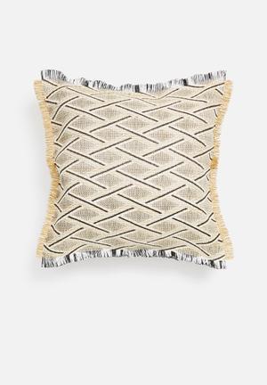 Coron raffia outdoor cushion - grey & natural