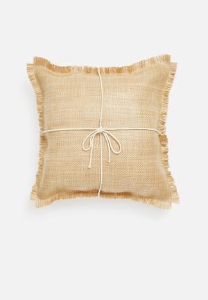 Tulum raffia outdoor cushion cover - natural