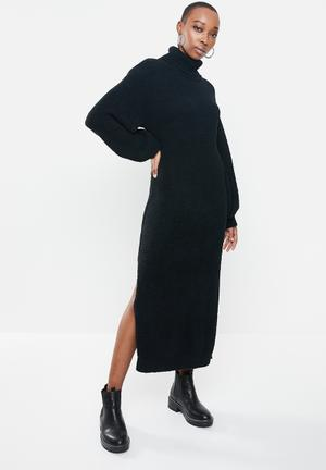 Fluffy slouchy side split jumper dress - black