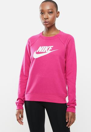 Nike sportswear essential crew fleece top - pink
