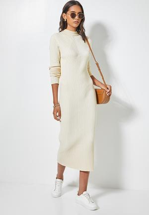 Organic cotton ribbed knitwear poloneck dress - cream