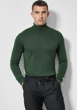 Basic roll neck slim fit knit - green