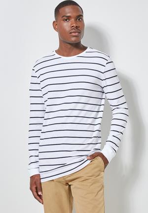 Stripe crew neck tee - white & navy