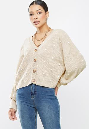 Polka dot balloon sleeve cardigan - stone