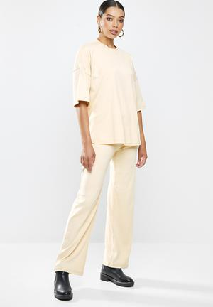 Rib T-shirt wide leg co ord set - stone