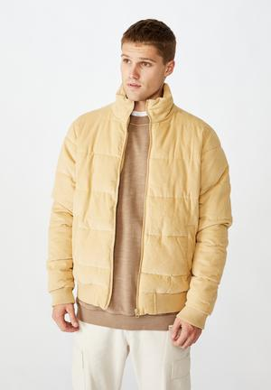 Cord puffer jacket - sand