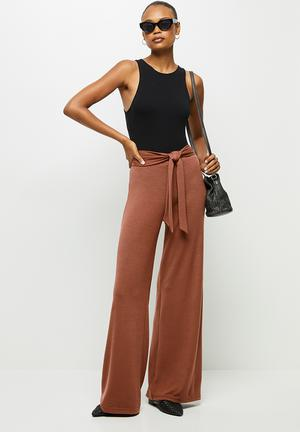 Belted lounge wide leg pant - terracotta