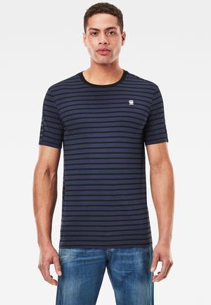Korpaz stripe gr slim r short sleeve tee- sartho blue/dk black stripe