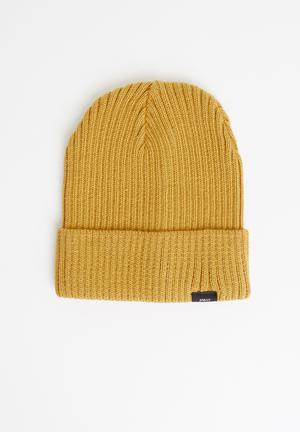 Rib turn up beanie - mustard