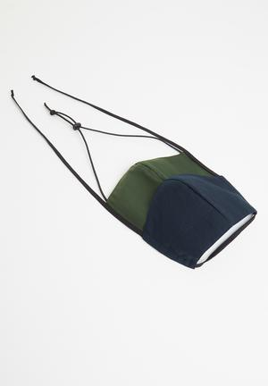Twin pack face mask - navy & khaki