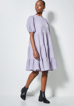 Bubble woven volume mini dress - dusty lilac
