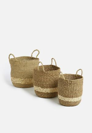 Palmleaf basket set of 3 - natural