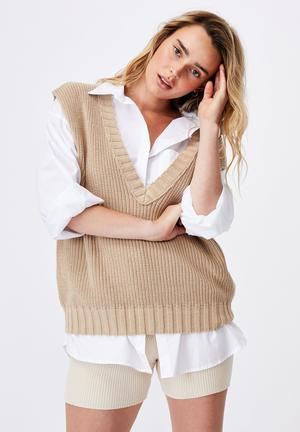Cotton vest - taupe