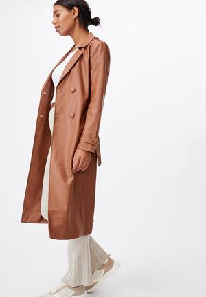 Vegan leather trench - tan