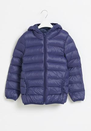 Boys hooded bomber jacket - navy
