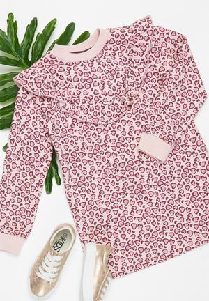 Younger girls frill fleece dress - pink