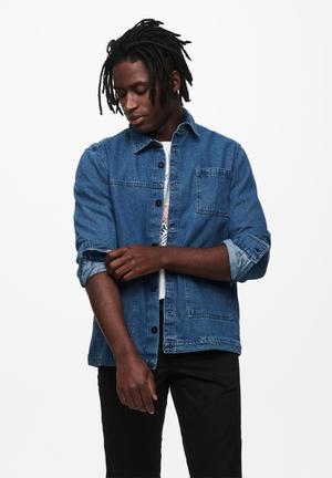 Tyrell life ls denim overshirt jacket - denim