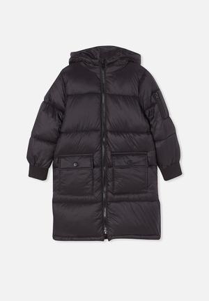 Finley longline puffer jacket - black