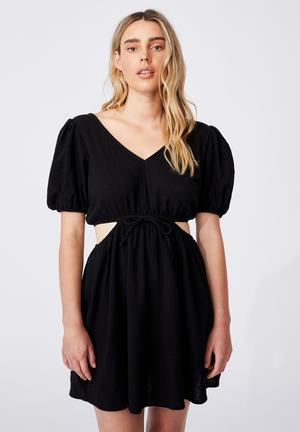 Woven dixie cotton cut out mini dress - black