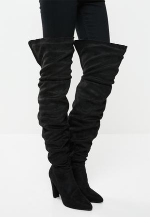 Zara rouched over the knee boot - black