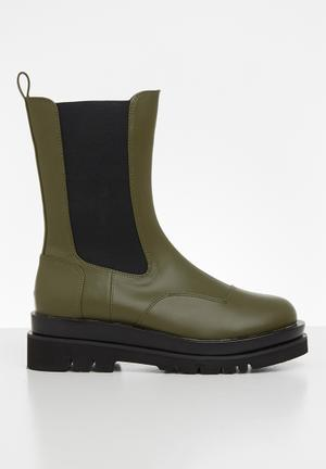Nora wider fit chelsea boot - olive