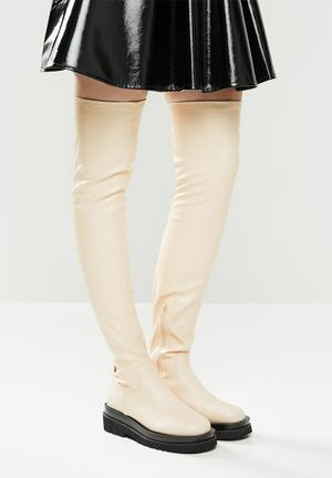 Rylee over the knee track sole boot - bone