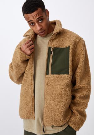 Pocket teddy zip thru - tan