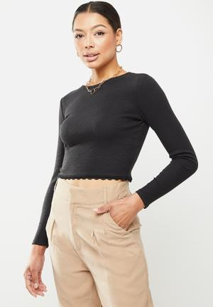 Long sleeve jersey with lace trim - black