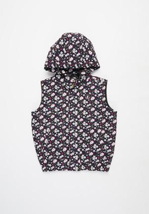Girls tessa floral sleeveless puffer jacket - multi