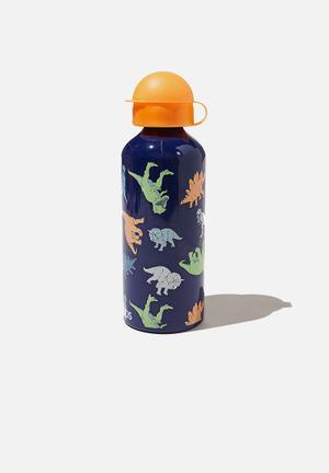 Aluminium drink bottle - indigo multi dino